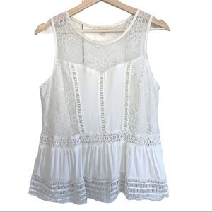 Skies are Blue Lace and Crochet Peplum Top